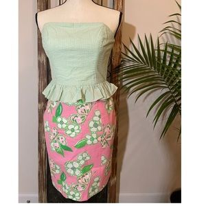 Lilly Pulitzer Pink and Green Lowe Strapless Dress